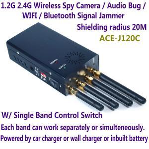 Quality 1.2G 2.4G Wireless Spy Camera Audio Bug WIFI Bluetooth Signal Jammer Blocker Single Switch wholesale