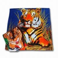 Quality Beach Towel with Tiger Printing, Made of 100% Cotton Terry/Velour, OEM Orders are Welcome wholesale