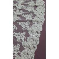 Quality 140cm Sequin Beaded Ivory Lace Fabric , White Embroidered Bridal Wedding Lace wholesale