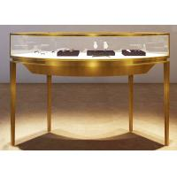 Quality Curve Shape Stainless Steel Jewelry Counter With Glass Light For Shopping Mall wholesale