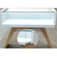 Quality Veneer Wood Cell Phone Display Case White Color With LED Strip Lighting wholesale