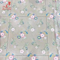 China Colorful Floral Embroidery Fabric With Sequins Swiss Mesh Volie Lace on sale