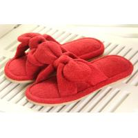 Quality Red / white L Bowknot Beautiful Soft Unique Indoor plush slippers for lady wholesale