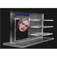 Quality Recycled Acrylic Cosmetic Display Floor Stand Transparent With Poster Holder wholesale