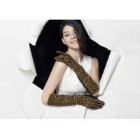 China Sexy Ladies Long Leather Gloves With Leopard Print Pig Suede Elastic Wrist on sale