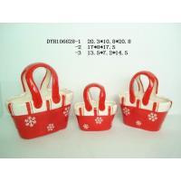 Quality Decorative Ceramic Flower Pots Bag Shaped Xmas With Handle 20.3 X 10.5 X 20.8 Cm wholesale