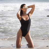 Quality Black Retro Womens Swimming Suits High Cut Low Back One Piece Swimwear wholesale