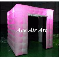 Cheap beautiful black interior cube inflatable booth with led lights, two doors photo for sale