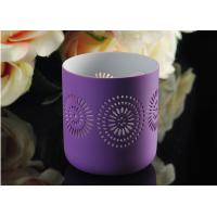 Quality Purple pattern Porcelain Candle Holder Bowl / Hollow Ceramic Candle Houses wholesale