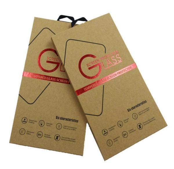 Cheap Kraft Paper Custom Printed Packaging Box For Mobile Phone Film Packaging for sale