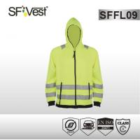 Cheap EN ISO 20471 zipper closure fleece hoodie jacket high visibility apparel for sale