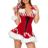 Quality White Red Adult Christmas Costumes Candy Cane Cutie Costume for Girl wholesale