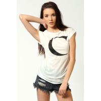 White Letter Print Knitted O Neck Ladies Tee Shirts With Short Sleeve