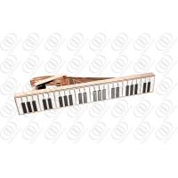 Quality Mens Fashion Rose Gold Stainless Steel Tie Clip with Piano Keys Enamel wholesale