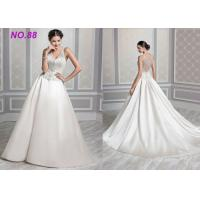 Quality Ivory Organza V Neck Ball Gown Wedding Dress , Formal Ball Gown Prom Dresses wholesale