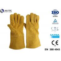 Quality Leather Heat Resistant PPE Safety Gloves Soft High Dexterity For Welding Oven Fireplace wholesale