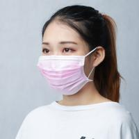 China Pink Color Disposable Face Mask Non Woven PP Material Non Irritating Lightweight on sale