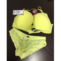 Quality Yellow Lace Polyester / Cotton Embroidered Charming Sexy Matching Bra And Underwear Set wholesale