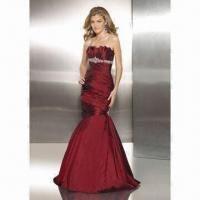 Quality Evening Dress, Dramatic Style, Pleated Satin Creates Strapless Crumb Catcher Neckline with Beads wholesale