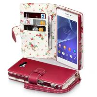 China Fashion Premium PU Leather Wallet Phone Case for Sony Xperia M2 With Floral Interior on sale