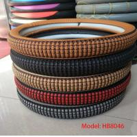 Quality cheap price good quality pu brown M size car steering wheel cover wholesale