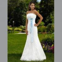 Quality Strapless Mermaid Style Gown, Lace Over Satin, Ribbon Train at Bust with Beautiful Brooch wholesale