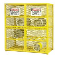Yellow Compressed Gas Cylinder Storage Cages With Easily Accessible Hinged Doors