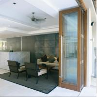 Quality Exterior Tempered Folding Glass Door Replacement Powder Coating 6063 Aluminum wholesale