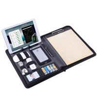 Quality Zippered Business Portfolio PU Leather Made With Removable Notepad Clipboard wholesale