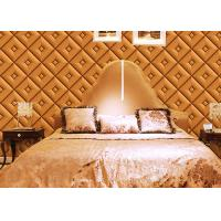 Quality Diamond Pattern Inmitation Leather Asian Inspired Wallpaper Chinese Style Foam Process wholesale