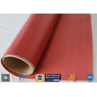 Quality Fire Blanket 480g 0.43mm High Strength Silicone Coated Fiberglass Fabric Red Color wholesale