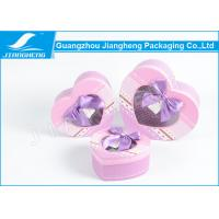 China Heart Shaped Small Cardboard Gift Boxes , Purple Bowknot Gift Packaging Boxes on sale