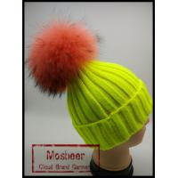 Buy cheap Wholesale Latest UK Style Colorful Wool Crochet Hat With Raccoon Fur Pom Poms from wholesalers