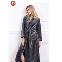 Quality Soft Plush Long Fleece Bathrobe , Warm Thick Kimono Robes For Womens 330 Gsm Home wholesale