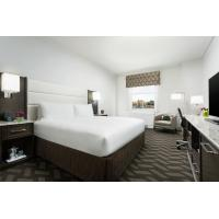 Hotel Room Standard Large Bedroom Leather Padded Headboard Bed and Big TV