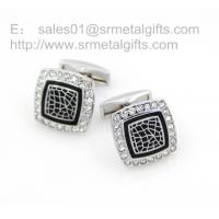 China Czech stone square cufflinks for men's suit, vintage square rhinestone cuff links, on sale