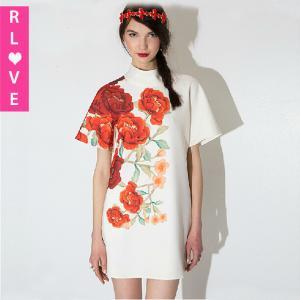 China 2015 summer short-sleeved dress printed flower loose high-necked elegant white dresses on sale