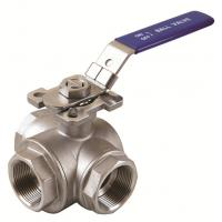 Quality 3way sanitary ball valves with mounting pad T Pattern or L Pattern threaded end wholesale
