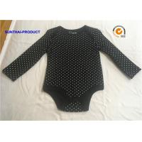 Quality Classic Black Baby Bodysuit , Rubber Pin Dots Print Newborn Baby Girl Rompers wholesale