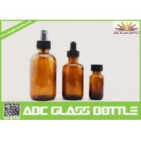 Quality 4oz 2oz 1oz 1/2oz 120ml 60 ml 30ml 15ml Amber Boston Round Glass Bottle For Essential Oil Use wholesale