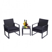 Quality Three Pieces Wicker Rattan Set With Coffee Table Chairs Thick Cushions wholesale