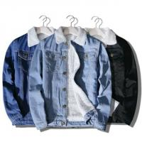 China Light Blue 100% Cotton On Denim Jacket , Machine Washed Fleece Lined Jeans Jacket on sale
