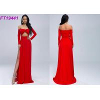 Quality Summer Slit Off Shoulder Red Evening Dress With Long Sleeves For Party wholesale