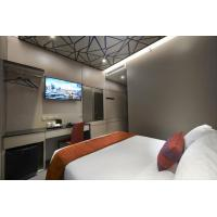 China Hotel furniture for sale by melamine laminate board wall panel and bed headboard with TV cabinet tables on sale