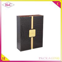 China Luxury double pu leather wine bottle packaging box on sale