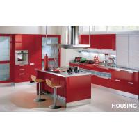 Quality Red Lacquer Kitchen Pantry Storage Cabinet With Handles , Baskets wholesale