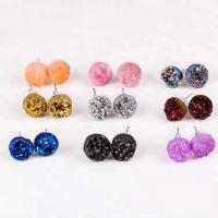 China Natural druzy fancy cute small charms post stud earrings stainless steel ear needle on sale
