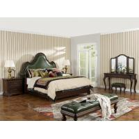 Cheap Solid Wood Bedroom set American style BT-2901 Real leather Upholstered headboard for sale