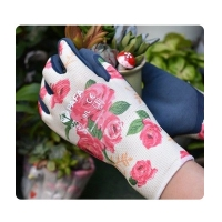 China Thin Flower Knit 13 Gauge Ladies Gardening Gloves on sale