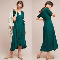 Quality Western Women Elegant Short Sleeve Long Green Wrap Dress Midi Dresses Wrap wholesale